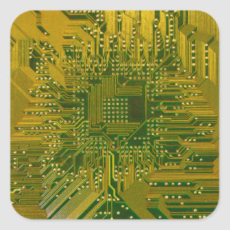 Green and Gold Electronic Computer Circuit Board Square Sticker
