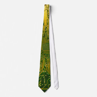 Green and Gold Electronic Computer Circuit Board Tie