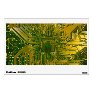 Green and Gold Electronic Computer Circuit Board Wall Sticker