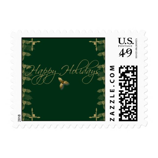 Green and Gold Elegant Holly Postage Stamp