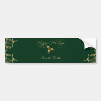 Green and Gold Elegant Holly Wine Label Car Bumper Sticker