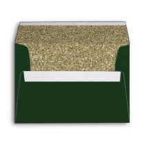 Green and Gold FAUX glitter Envelope