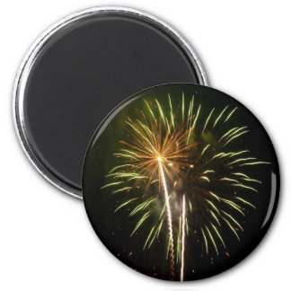 Green and Gold Fireworks Holiday Celebration 2 Inch Round Magnet