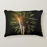 Green and Gold Fireworks Holiday Celebration Accent Pillow