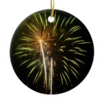 Green and Gold Fireworks Holiday Celebration Ceramic Ornament