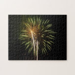 Green and Gold Fireworks Holiday Celebration Jigsaw Puzzle