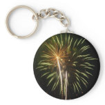 Green and Gold Fireworks Holiday Celebration Keychain