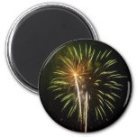 Green and Gold Fireworks Holiday Celebration Magnet