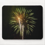 Green and Gold Fireworks Holiday Celebration Mouse Pad