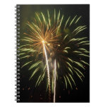 Green and Gold Fireworks Holiday Celebration Notebook