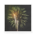 Green and Gold Fireworks Holiday Celebration Paper Napkin
