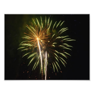 Green and Gold Fireworks Holiday Celebration Photo Print