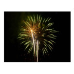 Green and Gold Fireworks Holiday Celebration Postcard