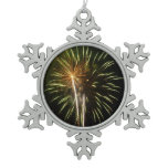 Green and Gold Fireworks Holiday Celebration Snowflake Pewter Christmas Ornament