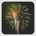 Green and Gold Fireworks Holiday Celebration Square Sticker