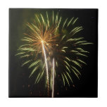 Green and Gold Fireworks Holiday Celebration Tile