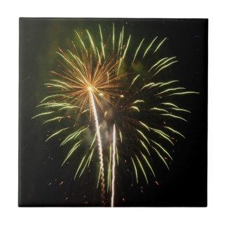 Green and Gold Fireworks Holiday Celebration Tile