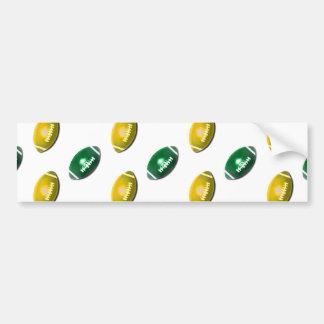 Green and Gold Football Pattern Car Bumper Sticker