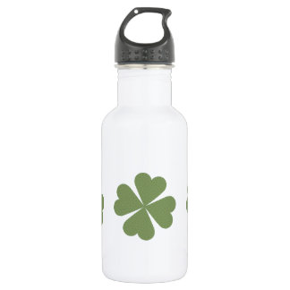 Green and Gold Four Leaf Clover Stainless Steel Water Bottle