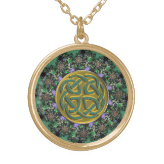 Green and Gold Fractal Mandala with Celtic Knot Gold Plated Necklace