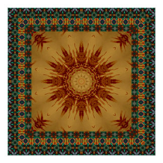 Green And Gold Framed Radiating Star Poster
