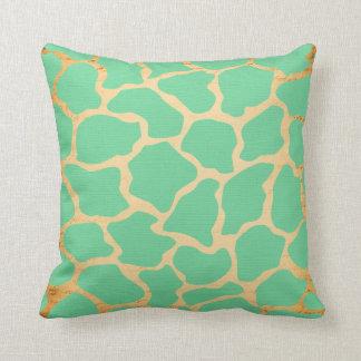 Green and Gold Giraffe Pattern Pillow