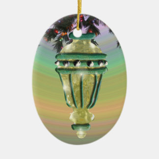 Green and Gold Glass Bulb Christmas Ornaments