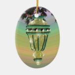Green and Gold Glass Bulb Double-Sided Oval Ceramic Christmas Ornament