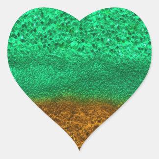 Green and Gold Glitter Chips Heart Sticker