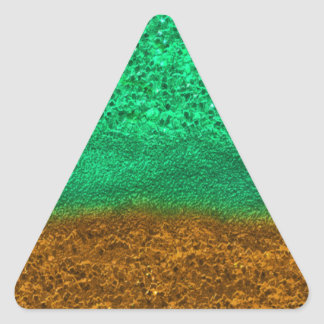 Green and Gold Glitter Chips Triangle Sticker