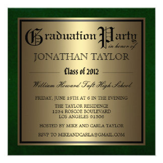 Green and Gold Graduation Personalized Invite