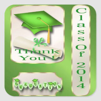 Green and Gold Graduation Thank You envelope seal Square Stickers