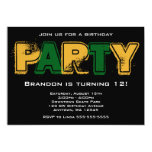 Green and Gold Grunge Birthday Party Personalized Announcements