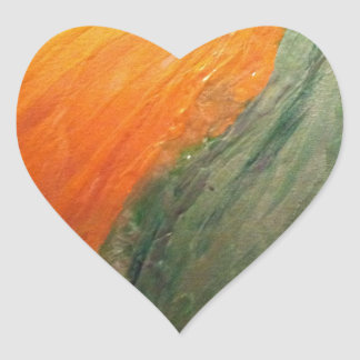 Green and Gold Heart Sticker