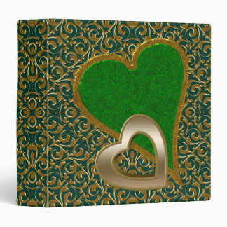 Green and Gold Hearts Binder