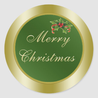 Green and Gold, Holly  Merry Christmas Classic Round Sticker