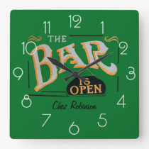Green and Gold Home Personalized Bar Clock