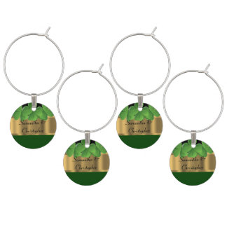 Green and gold Irish shamrock personalized Wine Glass Charm