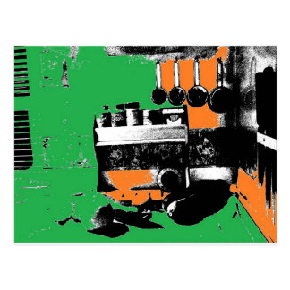 Green and Gold Kitchen Postcard