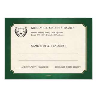 Green and Gold Law Firm/Law School Graduation RSVP 3.5x5 Paper Invitation Card