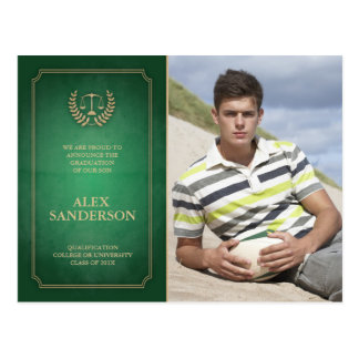 Green and Gold Law School Graduation Announcement Postcard