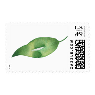 Green and Gold Leaf in Watercolor Postage
