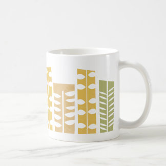 Green and Gold Leaf Pattern Coffee Mug