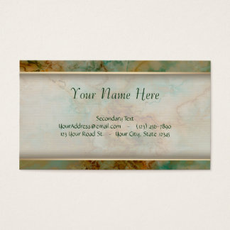 Green and Gold Marble Business Card