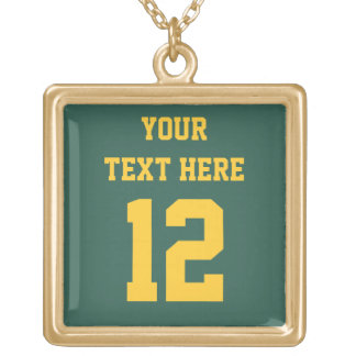 Green and Gold Number Necklaces for Sports