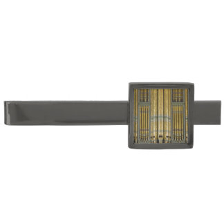 Green and gold organ pipes gunmetal finish tie clip