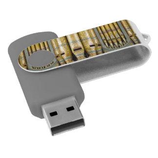 Green and gold organ pipes swivel USB 2.0 flash drive
