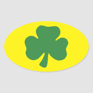 Green and gold oval shamrock stickers oval sticker