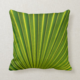 Green and gold palm frond throw pillow