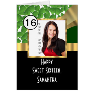 Green and gold personalized sweet sixteen cards